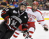 Braden Pimm (NU - 14), Matt Nieto (BU - 19) - The Northeastern University Huskies defeated the Boston University Terriers 3-2 in the opening round of the 2013 Beanpot tournament on Monday, February 4, 2013, at TD Garden in Boston, Massachusetts.