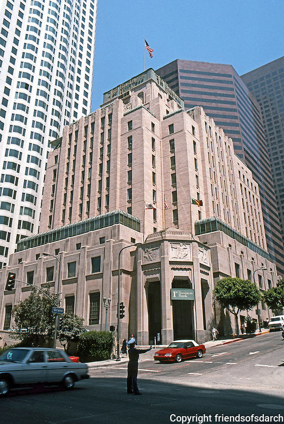"""Los Angeles: Southern California Edison, now """"One Bunker Hill""""--1931. NW Corner of S. Grand & W. Fifth.  Allison & Allison. Photo '89."""