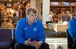 St Johnstone v FC Minsk...31.07.13<br /> David Wotherspoon pictured at Edinburgh Airport waiting for the flight to Grodno in Belarus.<br /> Picture by Graeme Hart.<br /> Copyright Perthshire Picture Agency<br /> Tel: 01738 623350  Mobile: 07990 594431