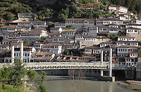 Houses in the Mangalem Quarter and the bridge over the Osum river in Berat, South-Central Albania, capital of the District of Berat and the County of Berat. In July 2008, the old town (Mangalem district) was listed as a UNESCO World Heritage Site. Picture by Manuel Cohen