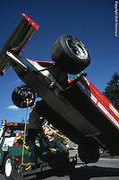 MONTREAL, QC - SEPTEMBER 27: The Ferrari F126CK 049B/Ferrari 021 driven by Didier Pironi is returned to the pit lane following a crash during practice for the 1981 Canadian Grand Prix on September 27, 1981, at the Circuit Île Notre-Dame in Montreal, Quebec, Canada.