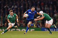 Damien Chouly of France takes on the Ireland defence. Rugby World Cup Pool D match between France and Ireland on October 11, 2015 at the Millennium Stadium in Cardiff, Wales. Photo by: Patrick Khachfe / Onside Images