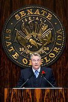 TALLAHASSEE, FLA. 3/4/14-Senate President Don Gaetz, R-Niceville, speaks to the Senate during the opening day of the legislative session, March 4, 2014 at the Capitol in Tallahassee.<br /> <br /> COLIN HACKLEY PHOTO