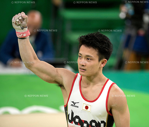 Yusuke Tanaka (JPN),<br /> AUGUST 8, 2016 - Artistic Gymnastics :<br /> Yusuke Tanaka of Japan celebrates after performing on the rings in the Men's Team Final at Rio Olympic Arena during the Rio 2016 Olympic Games in Rio de Janeiro, Brazil. (Photo by Enrico Calderoni/AFLO SPORT)