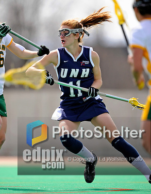 9 April 2008: University of New Hampshire Wildcats' Midfielder Ashley Crook, a Senior from South Burlington, VT, in action against the University of Vermont Catamounts at Moulton Winder Field, in Burlington, Vermont. The Catamounts rallied to defeat the visiting Wildcats 9-8 in America East divisional play...Mandatory Photo Credit: Ed Wolfstein Photo