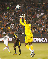 LA Galaxy goalie Donovan Ricketts (1) goes up to catch a shot on goal during the first half of the game between LA Galaxy and the Columbus Crew at the Home Depot Center in Carson, CA, on September 11, 2010. LA Galaxy 3, Columbus Crew 1.