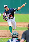 3 July 2011: Vermont Lake Monsters pitcher Ryan Hughes on the mound against the Tri-City ValleyCats at Centennial Field in Burlington, Vermont. The Lake Monsters rallied from a 6-3 deficit, scoring 4 runs in the bottom of the 9th, to defeat the ValletCats 7-6 in NY Penn League action. Mandatory Credit: Ed Wolfstein Photo