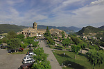 Old town of Ainsa with the background of Lake Mediano and the mountains. Ainsa, Arogon, Pyranees, Spain,