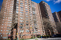 A building in the affordable housing, Soviet-bloc evocative architecture, Penn South complex in New York on Saturday, April 8, 2017. (© Richard B. Levine)