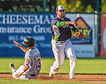 1 September 2014: Vermont Lake Monsters infielder Gabriel Santana turns a double-play to end the top of the 5th inning against the Tri-City ValleyCats at Centennial Field in Burlington, Vermont. The ValleyCats defeated the Lake Monsters 3-2 in NY Penn League play. Mandatory Credit: Ed Wolfstein Photo *** RAW Image File Available ****