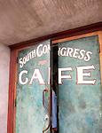 Beautifully painted doors to South Congress Cafe, Austin, Texas, TX, USA
