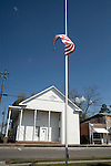April 15, 2008. Rose Hill, NC..Funeral services were held for National Guard Staff Sgt. Emanuel Pickett at the 1st Baptist Church in Wallace, NC., where he was a police officer.. SSgt. Pickett was killed on April 6, 2008 in Baghdad, Iraq by indirect enemy fire. He was assigned to the 1132nd Military Police Company, North Carolina Army National Guard, Rocky Mount, N.C. and is the 8th North Carolina National Guard soldier killed in the wars in Iraq and Afghanistan.. The flag flies at half mast at the Rose Hill police station, a town near Teachey, NC, the home of SSgt. Pickett.
