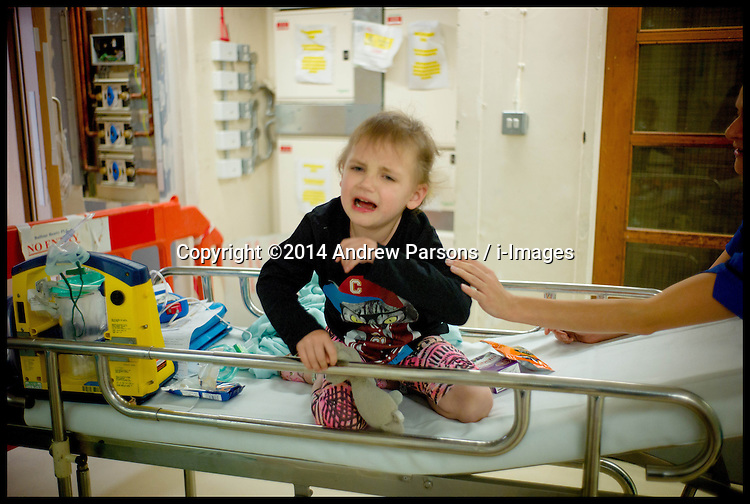 Image ©Licensed to i-Images Picture Agency. 29/10/2014. London, Yasmin Parsons coming round after having her CT scan on her chest at Great Ormond Street Hospital. Picture by Andrew Parsons / i-Images