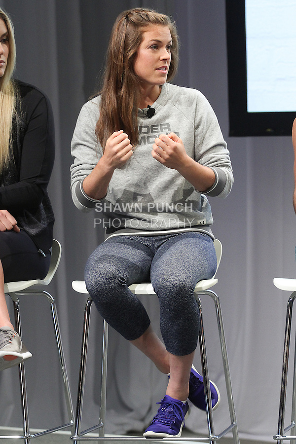 """Kelley O'Hara, Olympic gold medal winning Soccer player, on stage at the Under Armour, """"I will what I want"""" global women's campaign launch, on July 31, 2014, in New York City."""