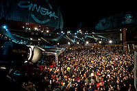 Roma, 28 Ott 2010.Protesta dei lavoratori dello spettacolo. .I lavoratori dello spettacolo hanno occupato il red carpet al Roma Cinema Festival per protestare contro i tagli del governo..Rome, October 28, 2010.Workers' protest of the show..Workers of the show have occupied  the red carpet at the Rome Film Festival to protest against government cuts