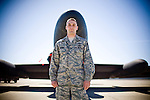 Flight commander Captain Ryan Skaggs poses in front of a U2 spy plane at Beale Air Force Base in Linda, Calif., April 30, 2010.