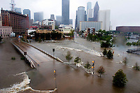Aerial photo of downtown Houston and the Buffalo Bayou after Hurricane Ike, 2008.