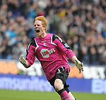 Football - Bolton Wanderers v Queens Park Rangers Barclays Premier League - The Reebok Stadium - 10/3/12 Adam Bogdan celebrates after Darren Pratley (not pictured) scored Bolton's first goal Mandatory Credit: Action Images / Paul Currie Livepic