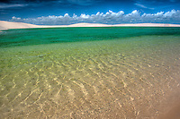 Green rainwater  pond trapped in white dunes, Lencois Maranhenses National Park, Brazil, Atlantic Ocean