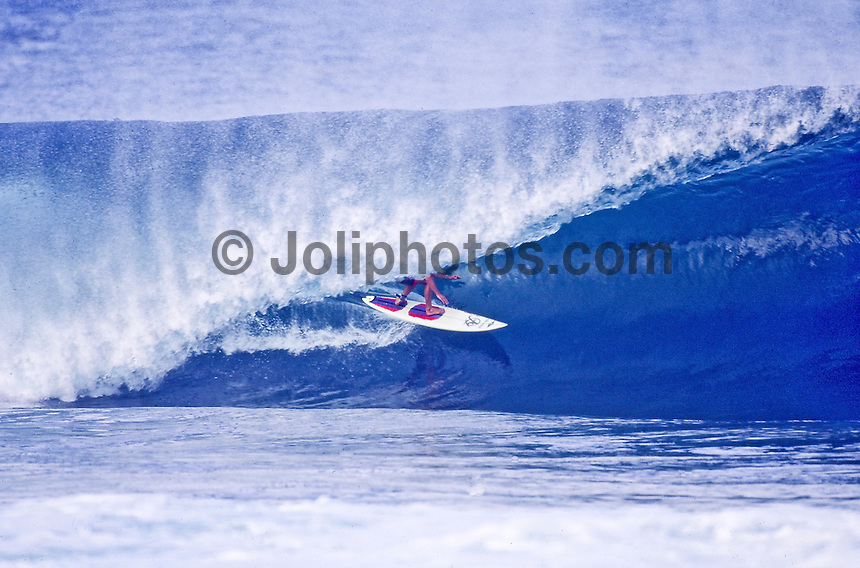 DAMIEN HARDMAN (AUSTRALIA)  circa 1991 surfing Pipeline, North Shore, Hawaii. Photo: Joli