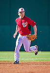 9 March 2014: Washington Nationals infielder Mike Fontenot warms up prior to a Spring Training game against the St. Louis Cardinals at Space Coast Stadium in Viera, Florida. The Nationals defeated the Cardinals 11-1 in Grapefruit League play. Mandatory Credit: Ed Wolfstein Photo *** RAW (NEF) Image File Available ***