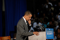 "Powder Springs, GA - July 8, 2008:  US Senator and Democratic Presidential candidate Barack Obama speaking at McEachern High School in Powder Springs, Georgia on July 8, 2008. Obama held a ""town hall meeting"" on the economy."