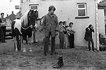 Appleby Horse Gypsy Fair Cumbria. Uk 1981. Waiting to take this horse into the river to wash it. The shoes belong to a gypsy boy on a horse in the river.