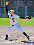 15 April 2009: University of Vermont Catamount pitcher Jocelyn Abaray, a Sophomore from Acushnet, MA, in action against the University at Albany Great Danes at Archie Post Field in Burlington, Vermont. The Great Danes swept the Catamounts 2-0 and 12-0 in the afternoon double-header. Mandatory Photo Credit: Ed Wolfstein Photo