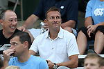 12 September 2014: New York City FC head coach Jason Kreis scouts the game. The University of North Carolina Tar Heels hosted the Pittsburgh University Panthers at Fetzer Field in Chapel Hill, NC in a 2014 NCAA Division I Men's Soccer match. North Carolina won the game 3-0.