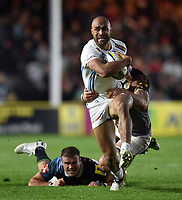 Olly Woodburn of Exeter Chiefs takes on the Harlequins defence. Aviva Premiership match, between Harlequins and Exeter Chiefs on April 14, 2017 at the Twickenham Stoop in London, England. Photo by: Patrick Khachfe / JMP