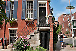 Brick town houses in downtown Philadelphia on Waverly Street