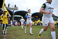 Max Clark and the rest of the Bath Rugby team run out onto the field. Aviva Premiership match, between Worcester Warriors and Bath Rugby on February 13, 2016 at Sixways Stadium in Worcester, England. Photo by: Patrick Khachfe / Onside Images