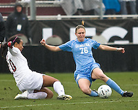 Stanford midfielder Mariah Nogueira (20) and North Carolina midfielder Ali Hawkins (76) fight for control of the ball. North Carolina defeated Stanford 1-0 to win the 2009 NCAA Women's College Cup at the Aggie Soccer Stadium in College Station, TX on December 6, 2009.
