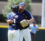 Ole Miss' R.J. Hively hugs catcher Austin Knight (3) vs. TCU in an NCAA Regional Game at College Station, Texas on Friday, June 1, 2012. Ole Miss won 6-2.