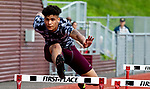 NAUGATUCK,  CT-051617JS09- Naugatuck's Aren Seeger took first in the 110 hurdles during their meet with Seymour and WCA Tuesday at Naugatuck High School. <br />  Jim Shannon Republican-American
