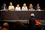 Candidates for the Los Altos City Council participate in a candidate forum at Los Altos High School.