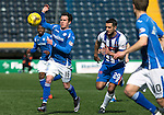 Kilmarnock v St Johnstone&hellip;09.04.16  Rugby Park, Kilmarnock<br />Danny Swanson and Gary Dicker<br />Picture by Graeme Hart.<br />Copyright Perthshire Picture Agency<br />Tel: 01738 623350  Mobile: 07990 594431