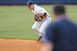 Ole Miss' Alex Yarbrough (2) fields and throws to first for an out in the first inning against Samford at Oxford-University Stadium in Oxford, Miss. on Tuesday, March 22, 2011.