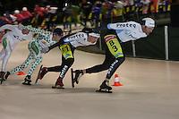 Greenery Six Alkmaar 16 dec. 06<br /><br />Peter de Vries op kop voor zijn teamgenoot en winnaar van de Greenery Six Jan Maarten Heideman gevolgd door Andres Landman en Bob de Vries<br />foto Martin de Jong