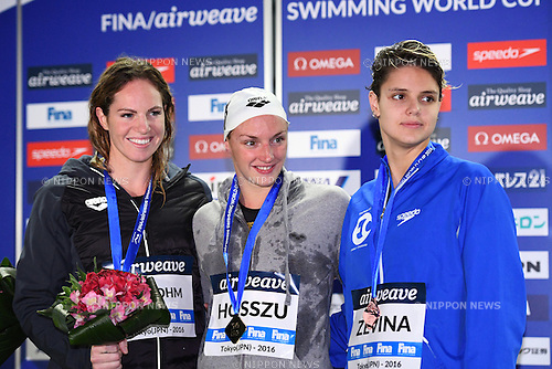 (L-R) Emily Seebohn (AUS), Katinka Hosszu (HUN), Daryna Zevina (UKR), <br /> OCTOBER 26, 2016 - Swimming : FINA Swimming World Cup Tokyo <br /> Women's 100m Backstroke Award Ceremony <br /> at Tatsumi International Swimming Pool, Tokyo, Japan. <br /> (Photo by AFLO SPORT)