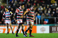 Ben Youngs and brother Tom Youngs of Leicester Tigers leave the field. Aviva Premiership match, between Leicester Tigers and Saracens on January 1, 2017 at Welford Road in Leicester, England. Photo by: Patrick Khachfe / JMP