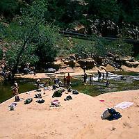 Oak Creek Canyon near Sedona, Arizona, USA - People relaxing at Slide Rock, in Slide Rock State Park