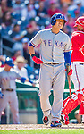 1 June 2014: Texas Rangers outfielder Shin-Soo Choo in action against the Washington Nationals at Nationals Park in Washington, DC. The Rangers shut out the Nationals 2-0 to salvage the third the third game of their 3-game inter-league series. Mandatory Credit: Ed Wolfstein Photo *** RAW (NEF) Image File Available ***