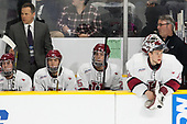 Adam Fox (Harvard - 18), Paul Pearl (Harvard - Associate Head Coach), John Marino (Harvard - 12), Wiley Sherman (Harvard - 25), Cameron Gornet (Harvard - 32), John O'Donnell (Harvard - Equipment Manager) - The Harvard University Crimson defeated the Air Force Academy Falcons 3-2 in the NCAA East Regional final on Saturday, March 25, 2017, at the Dunkin' Donuts Center in Providence, Rhode Island.
