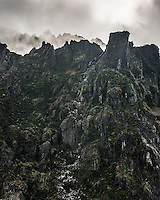 Moody Victoria Range at Fox Glacier, Westland Tai Poutini National Park, West Coast, South Westland, UNESCO World Heritage Area, New Zealand, NZ