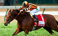 Louisville, KY- May 05: Little Mike  with Joe Bravo wins the Turf Classic at Churchill Downs in Louisville, KY on 05/04/12. (Alex Evers/ Eclipse Sportswire)