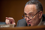 "Senator CHUCK SHUMER (D-NY) listens to testimony during a Senate Banking, Housing and Urban Affairs committee hearing on ""The Administration's Report to Congress: Reforming America's Housing Finance Market."""