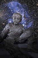 Albert Einstein under the starry sky.