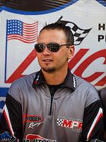 Sep 18, 2016; Concord, NC, USA; NHRA pro stock motorcycle rider Mark Paquette during the Carolina Nationals at zMax Dragway. Mandatory Credit: Mark J. Rebilas-USA TODAY Sports