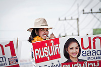 "YOLLANDA ""NOK"" SUANYOT speechs to the voters at the town streets as she runs the last day of the official political campaign for elections in northern Nan province, Thailand. Known formerly as a beauty queen, is running today a political campaign for the local rule of Nan city. 30-year-old Yollada Suanyot, who was born a male, has become the first transgender to register as an election candidate. The upcoming elections will be held on May 27th in 24 constituencies in 15 districts. In accord with the Thai media this is the first time in Thailand that a transgender is taking part in a provincial election."